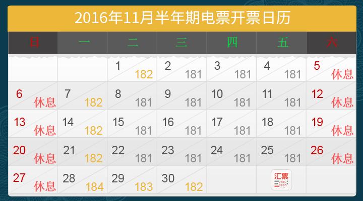 【汇票助手】2016年11月开票日历